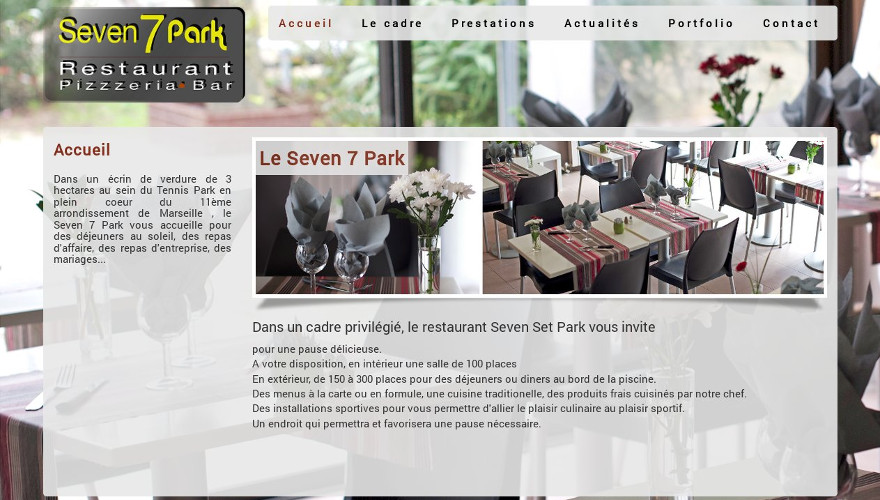 Conception et Réalisation site web marseille - dgwdesign - Restaurant Seven Set Park La valentine - Marseille